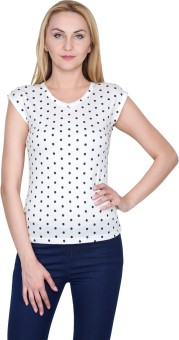 Golden Couture Casual, Festive, Formal, Lounge Wear, Party Short Sleeve Polka Print Women's Top