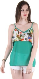 Hotberries Casual Noodle strap Solid Women's Green, Multicolor Top