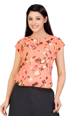 Lifestyle Lifestyle Retail Missy Casual Short Sleeve Printed Women's Top (Orange)
