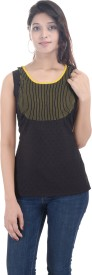 Sunshine Casual Sleeveless Solid Women's Black Top