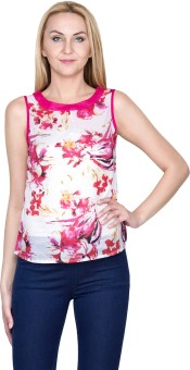 Golden Couture Casual, Festive, Formal, Lounge Wear, Party Sleeveless Floral Print Women's Top