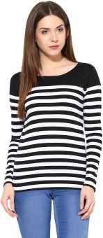 Miss Chase Casual Full Sleeve Striped Women's Black Top