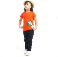 Cherry Crumble California Casual Short Sleeve Applique Baby Girl's Orange Top