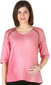Morph Maternity Casual 3/4 Sleeve Solid Women's Pink Top