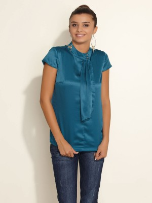 Esprit Esprit Casual Short Sleeve Solid Women's Top (Blue)