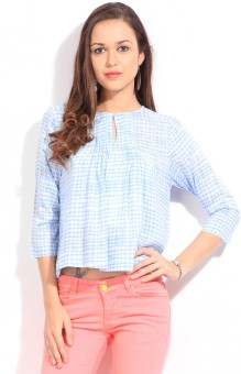 Chemistry Casual 34 Sleeve Checkered Women Top