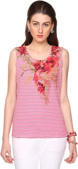 Bedazzle Casual Sleeveless Floral Print, Striped Women's Top