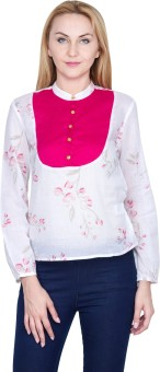 Golden Couture Casual, Festive, Formal, Lounge Wear, Party Full Sleeve Floral Print Women's Top