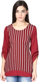 Abiti Bella Casual Roll-up Sleeve Striped Women's Top