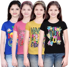Sinimini Casual Short Sleeve Printed Girl's Top
