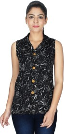 Royal Casual Sleeveless Printed Women's Black Top