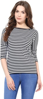 Miss Chase Party 3/4 Sleeve Striped Women's Black Top