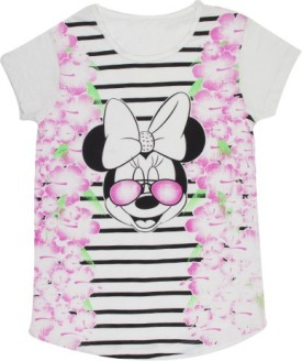 Mickey And Friends Casual Short Sleeve Printed Girl's White Top
