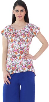Fashion205 Casual Short Sleeve Floral Print Women's Top