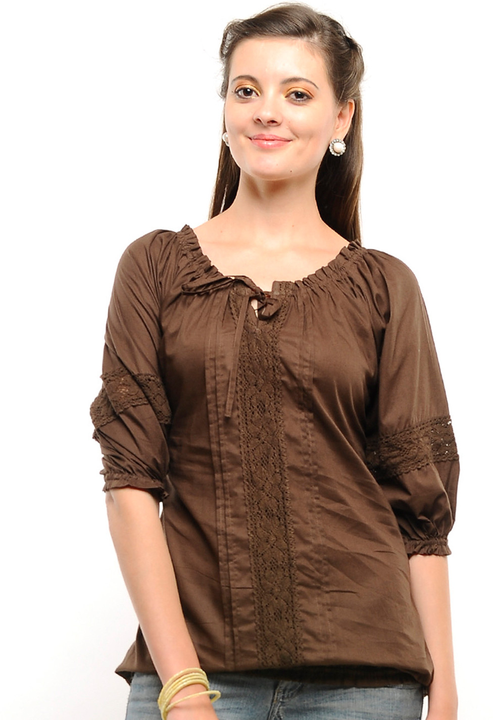 U Amp F Casual 3 4 Sleeve Solid Women S Top Buy Dark Brown U