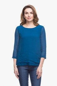 Cotton World Casual 3/4 Sleeve Solid Women's Blue Top