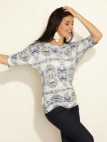 Sepia Casual 3/4 Sleeve Printed Women's Top