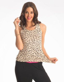 PrettySecrets Casual Sleeveless Animal Print Women's Top