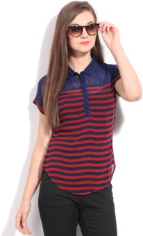 Scullers Casual Short Sleeve Striped Women's Top