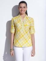 Wrangler Casual 3/4 Sleeve Checkered Women's Top