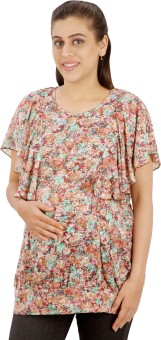 Uzazi Casual Short Sleeve Floral Print Women's Top