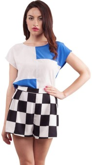 Purple Ginger Casual Short Sleeve Checkered Women's Top