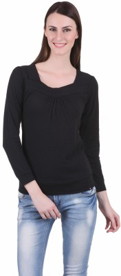 Juelle Juelle Casual Full Sleeve Solid Women's Top (Black)