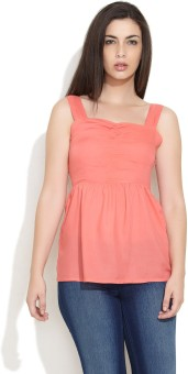 Nun Casual Sleeveless Solid Women Top