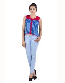 Sunshine Casual Sleeveless Solid Women's Blue Top