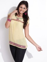 Fusion Beats Casual Short Sleeve Solid Women's Top