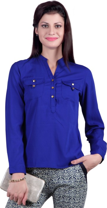 Eliza Donatein Casual Full Sleeve Woven, Solid Women's Top Casual Full Sleeve Woven, Solid Women's Top