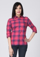 Allen Solly Casual Roll-up Sleeve Checkered Women's Top