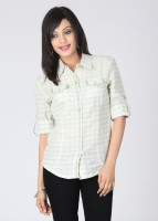 Mossimo Casual Roll-up Sleeve Checkered Women's Top
