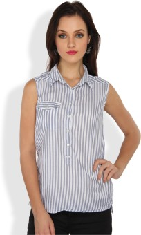 Ten On Ten Casual Sleeveless Striped Women's Top