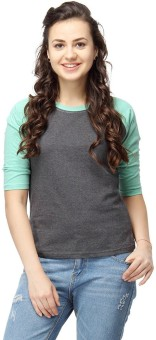 Campus Sutra Casual 3/4 Sleeve Solid Women's Green Top