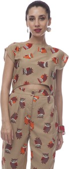 @499 Casual, Festive, Party Sleeveless Animal Print Women's Top