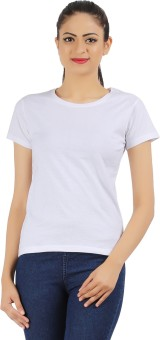 Ap'pulse Solid Women's Round Neck White T-Shirt
