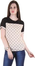 Hotberries Casual Short Sleeve Printed Women's Black, White Top