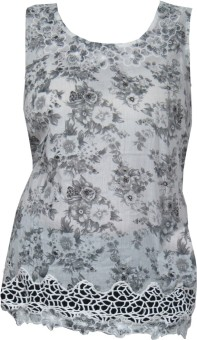 Indiatrendzs Casual Sleeveless Floral Print Women's Top: Top