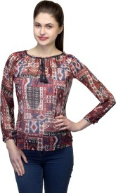 One Femme Party, Formal 3/4 Sleeve Geometric Print Women's Multicolor Top