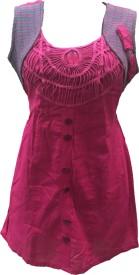 Dovekie Casual Sleeveless Self Design Women's Pink Top