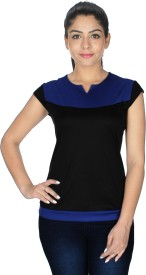 Royal Casual Short Sleeve Solid Women's Blue, Black Top