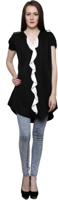 Ebony n Ivory Casual Butterfly Sleeve Solid Girl's Black Top
