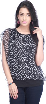 Eliza Donatein By Shoppers Stop Casual Short Sleeve Polka Print Women's Top