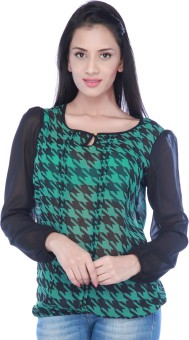 Haute Curry Casual Full Sleeve Printed, Checkered Women's Top Casual Full Sleeve Printed, Checkered Women's Top
