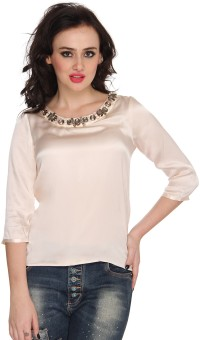 Bedazzale Party 34 Sleeve Solid Women Top