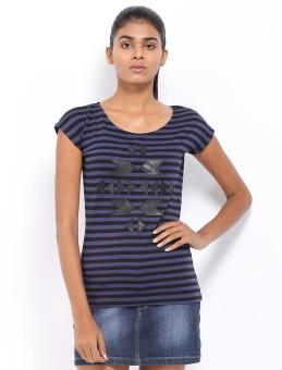 Roadster Casual Short Sleeve Striped Women's Top