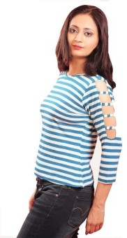 Guster Ve Casual 3/4 Sleeve Striped Women's Top