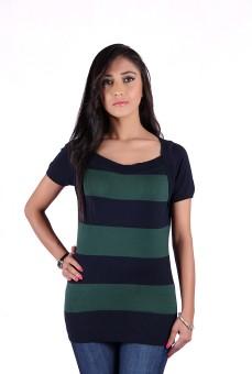 Kalt Casual, Festive, Formal, Party, Sports Short Sleeve Striped Women's Top