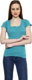 Renka Casual Short Sleeve Solid Women's Green Top
